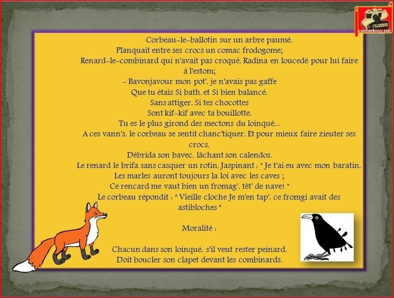 parodie de la fable le corbeau et le renard